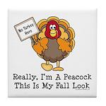 No Turkey Here Thanksgiving Tile Coaster