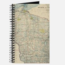 Vintage Map of Wisconsin (1895) Journal