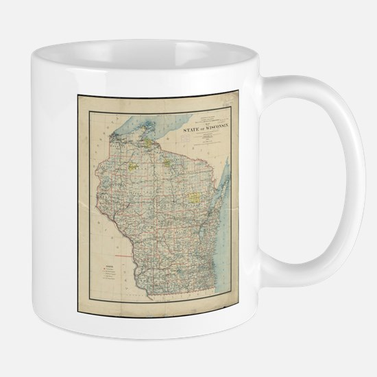 Vintage Map of Wisconsin (1895) Mugs