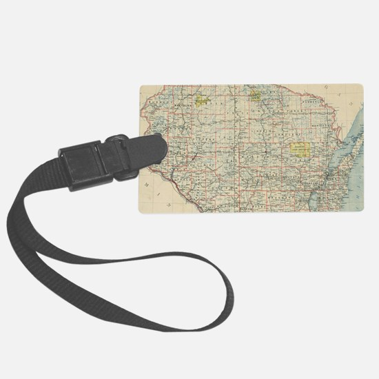 Vintage Map of Wisconsin (1895) Luggage Tag