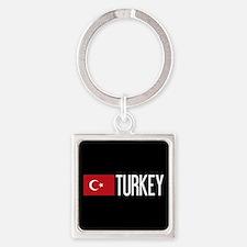 Turkey: Turkish Flag & Turkey Square Keychain