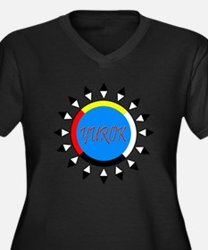 Yurok Women's Plus Size V-Neck Dark T-Shirt