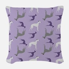 Greyhounds on Purple Woven Throw Pillow