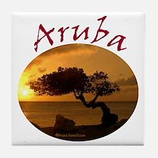 Aruba-Sunsets Logo Tile Coaster