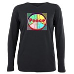 Abstract Peace Sign Plus Size Long Sleeve Tee
