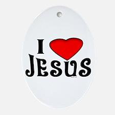 I Love Jesus Oval Ornament