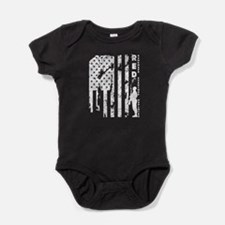 Remember Everyone Deployed Red Firda Baby Bodysuit