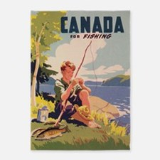 Canada, Fishing; Vintage Travel 5'x7'area