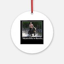 Vladimir Putin Riding A Bear Round Ornament