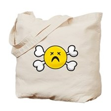 Dead Depressed Smiley Face & Crossbones Tote Bag