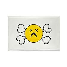 Dead Depressed Smiley Face & Crossbones Rectangle