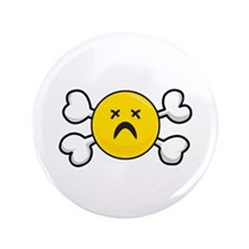 "Dead Depressed Smiley Face & Crossbones 3.5"" Butto"