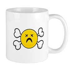 Dead Depressed Smiley Face & Crossbones Mug
