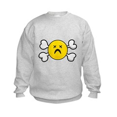 Dead Depressed Smiley Face & Crossbones Sweatshirt