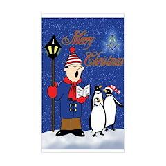Masonic Penguins Christmas Rectangle Sticker