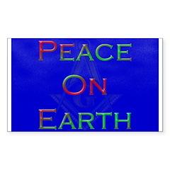 Masonic Peace on Earth Xmas Rectangle Decal