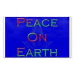 Masonic Peace on Earth Xmas Rectangle Sticker