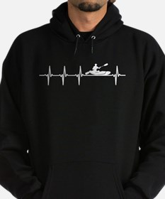 Kayaking Sport Heartbeat Love Hoodie (dark)
