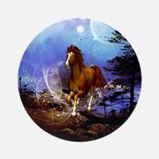 Running horse in the night Round Ornament