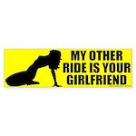 I Ride Your Girlfriend Bumper Sticker