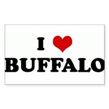 I Love BUFFALO Rectangle Decal