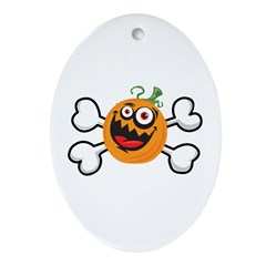 Crazy Insane Pumpkin & Crossbones Oval Ornament