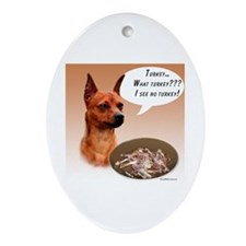 Min Pin Turkey Oval Ornament