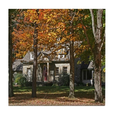 Country Stone House In Autumn Tile Coaster