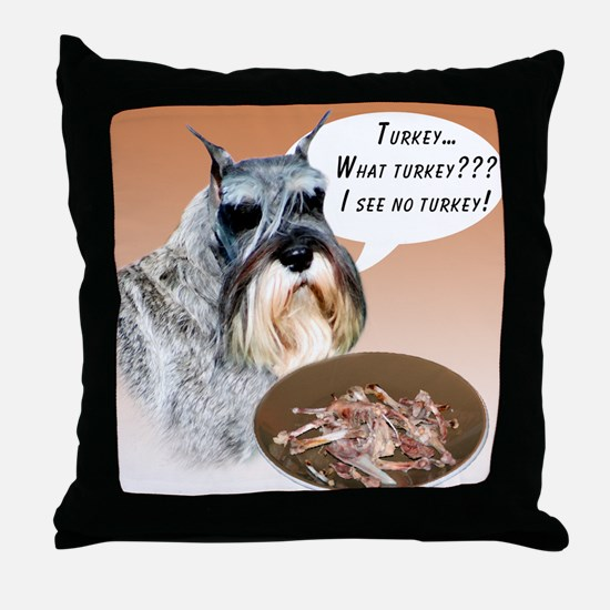 Mini Schnauzer Turkey Throw Pillow