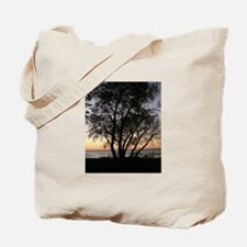 Silhouetted Tree at Sunset Tote Bag