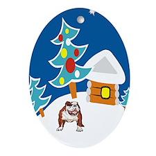 Bulldog In Snow Christmas Oval Ornament