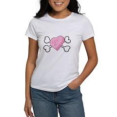 Candy Heart & Crossbones Design Women's T-Shirt