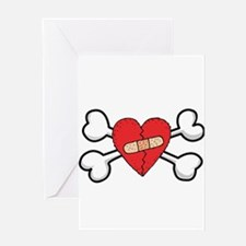 Broken Bandaged Heart & Crossbones Greeting Card