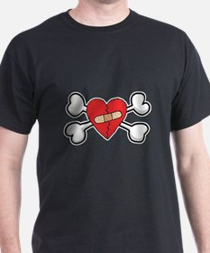 Broken Bandaged Heart & Crossbones T-Shirt
