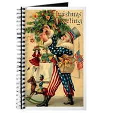 Uncle Sam Santa Claus Blank Notebook Journal