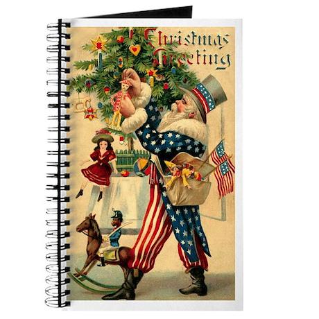 Uncle Sam Santa Claus Blank Notebook Journal