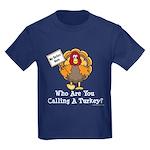 No Turkey Here Thanksgiving Kids Dark T-Shirt