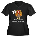 No Turkey Here Thanksgiving Women's Plus Size V-Ne