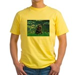 Lilies (5)/Cocker (Blk) Yellow T-Shirt