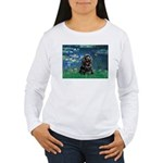 Lilies (5)/Cocker (Blk) Women's Long Sleeve T-Shir