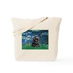 Lilies (5)/Cocker (Blk) Tote Bag