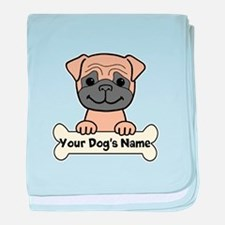 Personalized Pug baby blanket