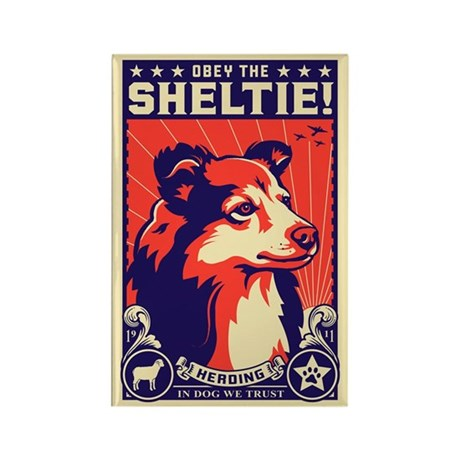 Obey the Sheltie! Dog Propaganda Magnet