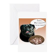 Pug(blk) Turkey Greeting Cards (Pk of 20)