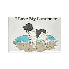 I Love My Landseer Rectangle Magnet