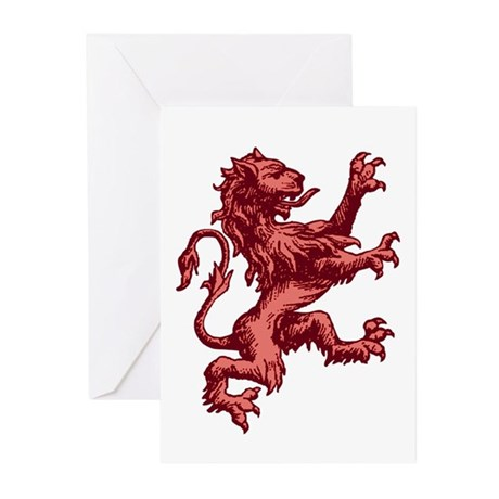 Renaissance Lion (red) Greeting Cards (Pk of 10)