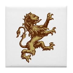 Renaissance Lion (gold) Tile Coaster