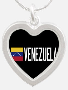 Venezuela: Venezuelan Flag & Silver Heart Necklace