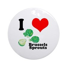 I Heart (Love) Brussels Sprouts Ornament (Round)