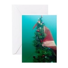 Christmas Tree Scuba Flag Greeting Cards (Pk of 10